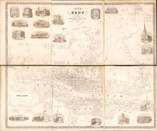 1858 Map City of Troy, N.Y.: from actual surveys - Ready to Frame -