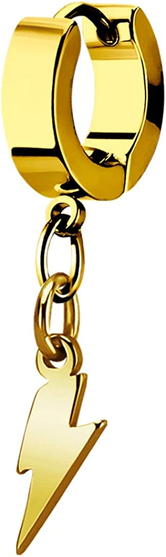 Dangle Lightning Thunder Huggie Hoop Gold-tone Stainless Steel Unisex Earring