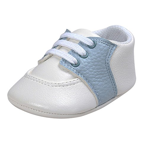Pictures of Kuner Newborn Baby Boys Girls Pu Leather White+sky Blue 1
