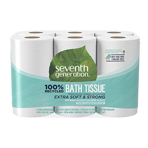 Seventh Generation Toilet Paper, Bath Tissue, 100% Recycled Paper, 4 Rolls (Packaging May (Recycled 4 Person)