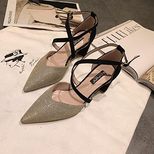 talons hauts à pointe unique Chaussures Printemps creux Croix Sangle Boucle Doré, 39