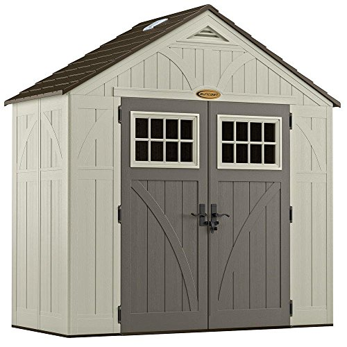 (Suncast 4' x 8' Tremont Storage Shed with Windows - Outdoor Storage for Backyard Tools and Accessories - All-Weather Resin Material, Transom Windows and Shingle Style Roof)