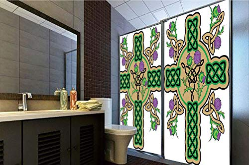 (Horrisophie dodo No Glue Static Cling Glass Sticker,Celtic,Celtic Knot Design Christian Cross Icon Wreath Flowers Retro Floral Welsh Pattern,Mustard Green,39.37