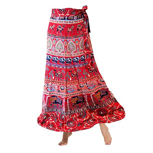 Wear Wrap Around Skirt (Icrafts India Cotton Bohemian-Style Wrap Around Adjustable Skirt In colorful Elephant and Floral Print Casual Wear For Women (Design 4))