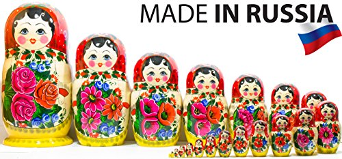 Russian Nesting Doll -Semenovo - Hand Painted in Russia - 6 Color|Size Variations - Wooden Decoration Gift Doll - Traditional Matryoshka Babushka (14``(20 Dolls in 1), Red - Yellow) - Hand Painted Russian Nesting
