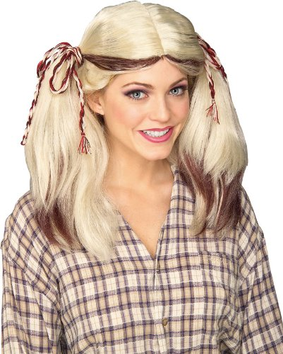 Rubie's Costume Blonde Farm Girl Wig with Streaks, Brown, One Size -
