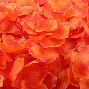 Oksale® 1000pcs Colorful Silk Rose Petals Artificial Flower Wedding Favor Bridal Shower Aisle Vase Decor Scaters Confetti (Orange 2) 104