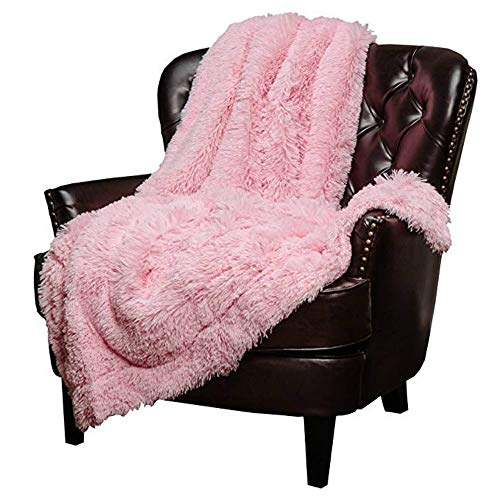 (Mydio Super Soft Shaggy Longfur Throw Blanket | Pink Snuggly Fuzzy Faux Fur Lightweight Warm Elegant Cozy Plush Sherpa Fleece Microfiber Blanket | for Couch Bed Chair Photo Props - 51