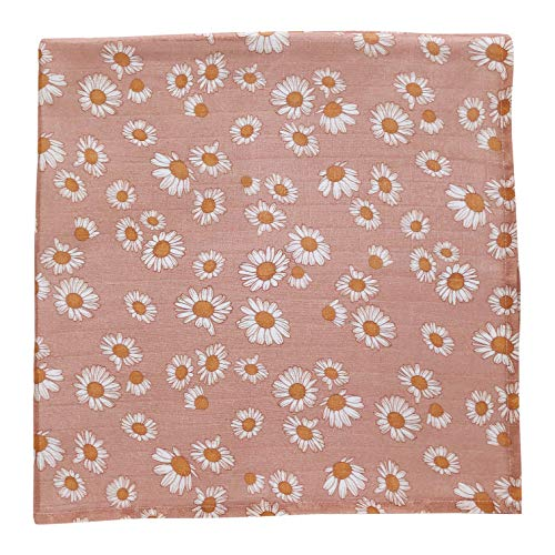Daisy (Blush Pink) - Muslin Cotton Swaddle Blanket, Newborn Essentials Wrap for Girls, Floral Infant Receiving Cover - Best for Baby Shower Registry