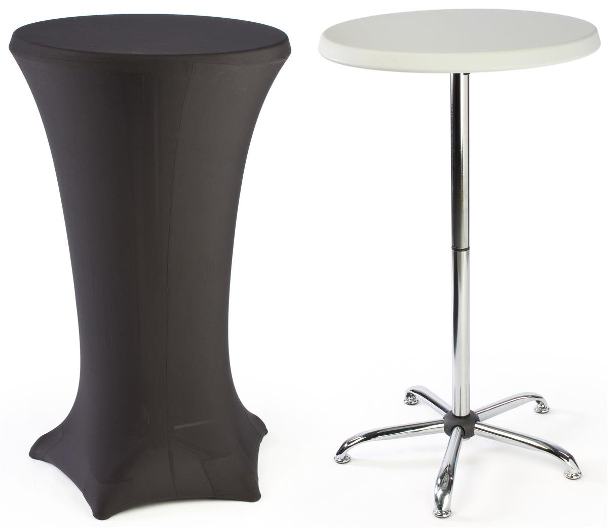Cocktail Tables Feature a Black Spandex Cover and a Portable Design.