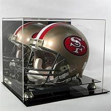 Football Helmet Display Case Mirror Back 100% Uv BLK Acrylic base GOLD risers
