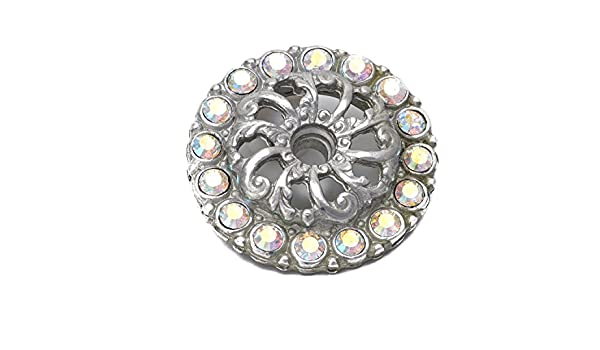 Carpe Diem Hardware 883-24C Cache Round Escutcheon Made with Swarovski Crystals Platinum Large