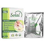 Foot Care Pain Relief Pads: SOLAI Premium Bamboo Cleansing Foot Pad - Adhesive Foot Health Patch With Gluten Free Natural Ingredients To Relax Muscles, Relieve Fatigue & Improve Sleep - 10 Pads