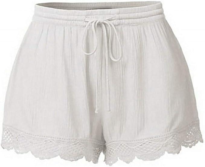 QINGXIA_ZI Short Femmes Grandes Tailles, Short Été Femmes Couleur Unie Taille Haute avec Poche Hot Pants Loose Décontracté Confortable Chaud Pantalon