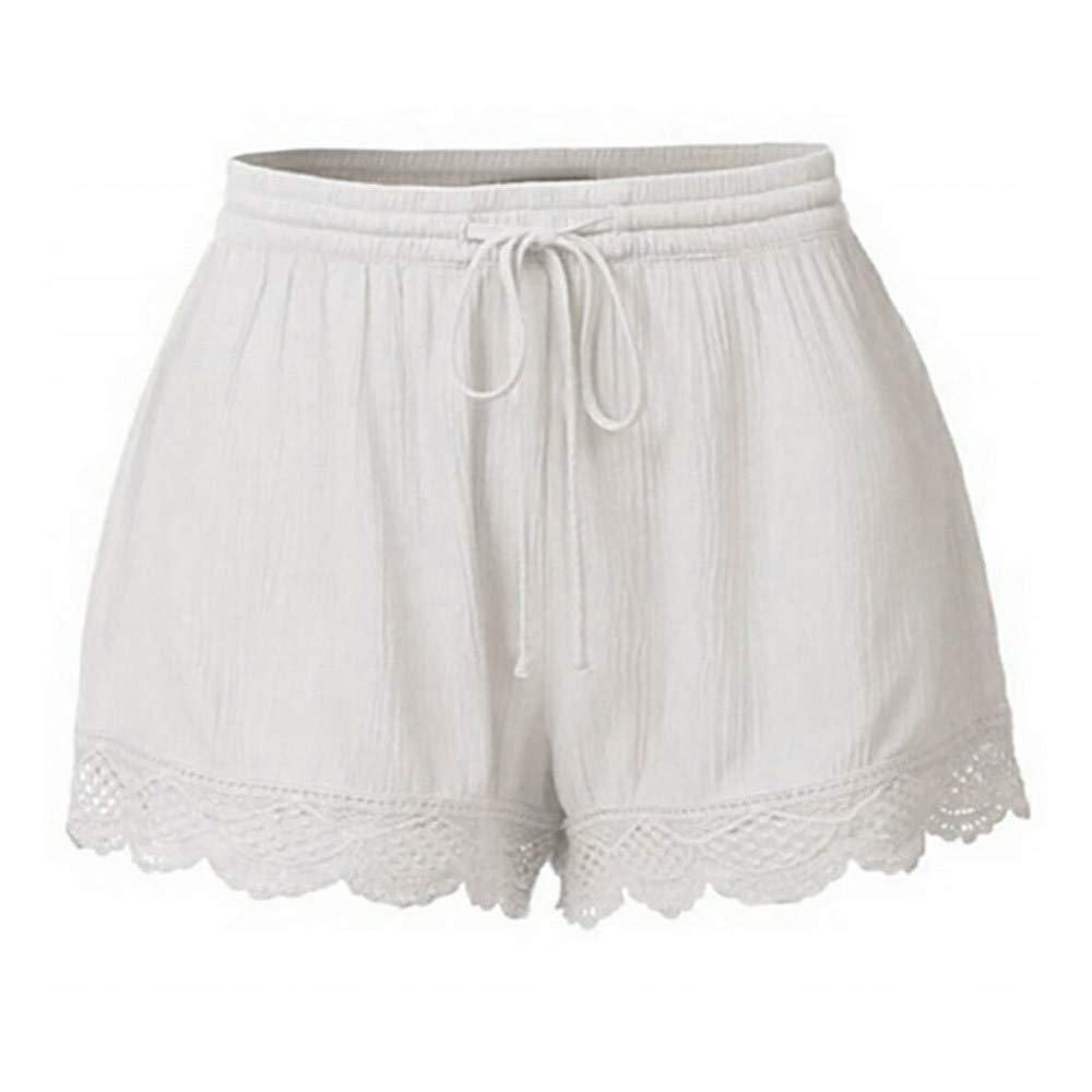 Womens Shorts, Libermall Women's Casual Plus Size Lace Splice Rope Elastic Waist Trousers Short Pants White