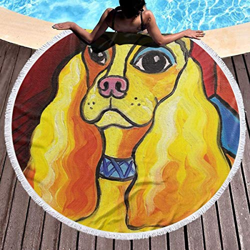 Trikahan Beach Towel Pawcasso Cocker Spaniel Towels with Tassel Microfiber Oversized Round Picnic Mat Tapestry Table Cover Blanket