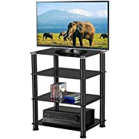 Topeakmart 4-Tier Glass Media Component Stand Audio Rack in Black