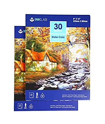 Watercolor Paper Pads 9x12 inch Acid Free Cold Pressed Art Paper Pads for Artist Painting Drawing, 140lb/300gsm, 30 Sheets Each, Pack of 2 Pads