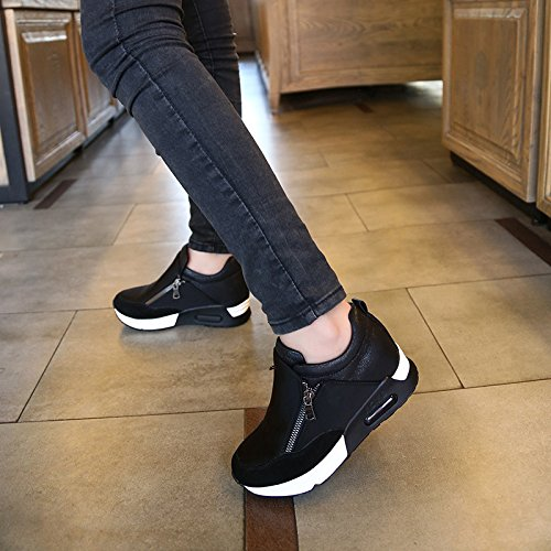 OUOUVALLEY Height Increasing Fashion Platform Shoes Women's Casual Sport Shoe (US9.5(CN42=260CM), Black)