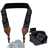 TrueSHOT Neoprene Polka Dot Camera Neck Strap and Camera Case with Accessory Storage Pockets - Works with Canon PowerShot SX410 IS , 5D Mark III , EOS 5DS and More Cameras