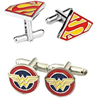 Outlander Gear DC Comics 2 Pairs Superman & Wonder Woman Enamel Superhero 2018 Movie Mens Boys Cufflinks