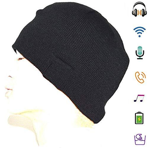 Bluetooth Beanie with Headphones, Wireless Bluetooth Hat, HD Stereo Smart Beanie Headset Musical Knit Headphone Speaker Hat Speakerphone Cap , Built-in Microphone, Music Hat For Travelling, Black