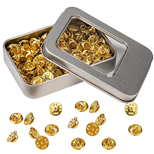 100 Pieces Premium Brass Butterfly Clutch, Pin Backs Replacement Badge Insignia Clutches (Gold)