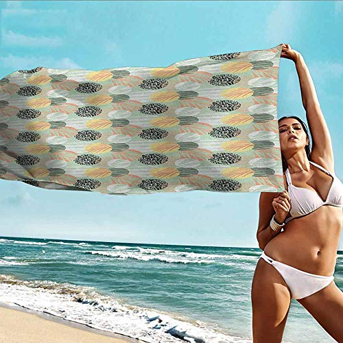 Antonia Reed Absorbent Towel Pastel,Exotic Pattern with Palm Leaves on Geometric Background and Grunge Look Aloha Beach,Multicolor,Suitable for Home,Travel,Swimming Use 28