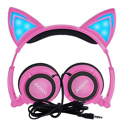 Cat Ear Headphones,barsone Wired Foldable On Ear Headsets with LED Glowing Light 3.5mm Audio Jack Headset for Children (Pink)