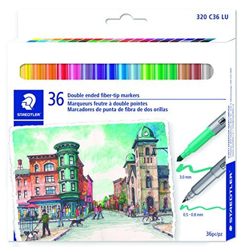 STAEDTLER double ended fiber-tip markers, for sketching, drawing, illustrations, and coloring, 36 vibrant colors, washable, 320 C36 LU by Staedtler