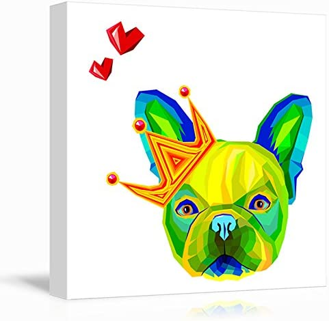 Square Dog Series Abstract Colorful Dog with a Crown