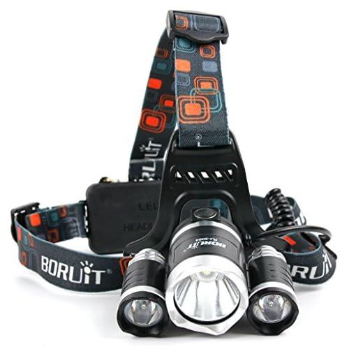 Lampe frontale ultra puissante avec 3 phares – jusqu'à 6000 Lumens – Par DURAGADGET