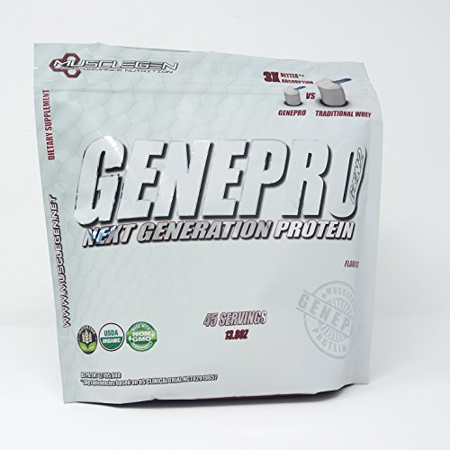 - GENEPRO Medical Grade Protein,45 Servings by Musclegen Research - Premium Protein for Absorption, Muscle Growth & Mix-Abilty. Gluten-Free, No Sugar, Flavorless and Mixes with Any Drink