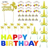 32 Pack Unicorn Cake Topper And Wrappers Happy Birthday Banner Party Supplier 6 Pcs Headbands Golden