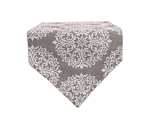 Yoovi Abstract Floral Table Runner Dark Gray Cotton and Line