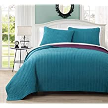 Wholesalebeddings Coverlet Queen Size Teal with Plum reversible Embroidered 3pc Quilt Set