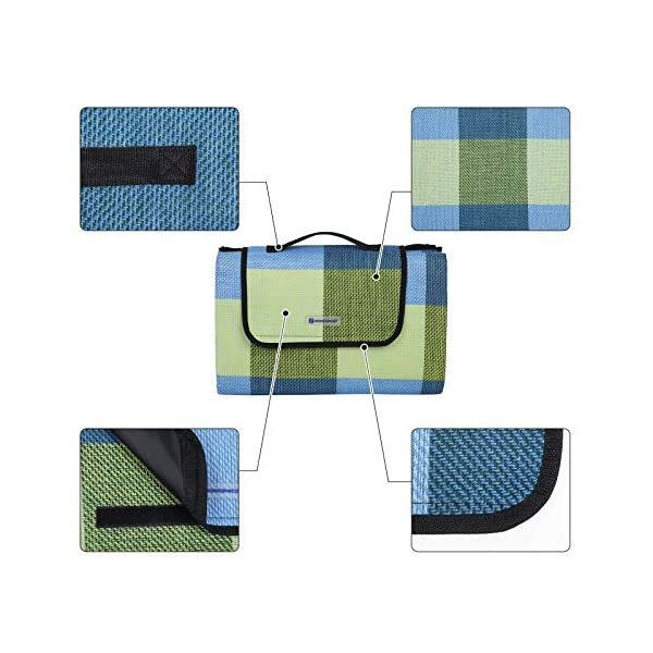 51WGA EhcdL SONGMICS wÄrmeisoliert Wasserdichte Picknickdecke, Stranddecke mit Tragegriff , GCM50C, 195 x 150 cm, Blau