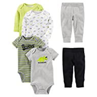 Baby Boys' 6-Piece Bodysuits (Short and Long Sleeve) and Pants Set