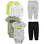 Simple Joys by Carter's Baby Boys 6-Piece Little Character Set, Green/Grey Rhino, 0-3 Months