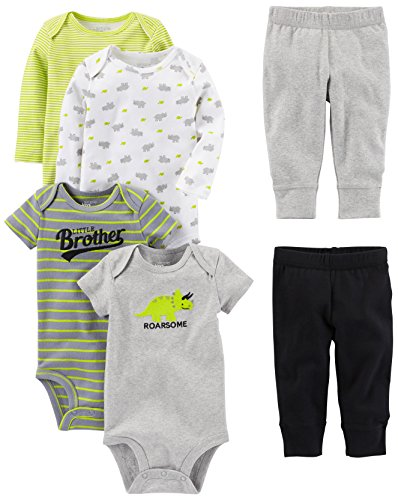 Simple Joys by Carter's Baby Boys 6-Piece Little Character Set, Green/Grey Rhino, 6-9 Months