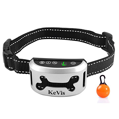 Bark Collar [2018 Upgrade Version] 7 Sensitivity Rechargeable Dog Barking Collar Beep/ Vibration/ Safe Shock or No/ Anti Bark Reflective Collar for Small Medium Large Dogs Bonus Cool Led Tag by KeVis by KeVis