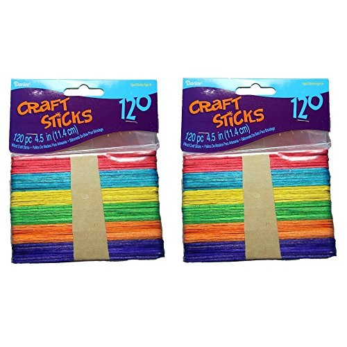 Darice 9150-82 Wood Craft Colored Stick, 4-1/2-Inch, 2 Packs of 120-Each Pack, Total 240 -