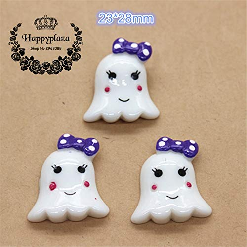 ZAMTAC 10pcs Resin Halloween Ghost Girl latback Cabochon Miniature Art Supply Decoration Charm Craft DIY,2328m -