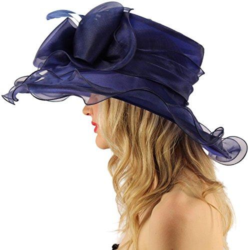 "SK Hat shop Superb Ruffle Edges Floral Feathers Organza Derby Floppy Wide 6"" Dress Hat"
