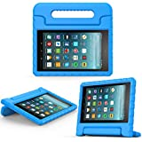 MoKo Case for All-New Amazon Fire 7 Tablet (7th Generation, 2017 Release Only) - Kids Shock Proof Convertible Handle Light Weight Super Protective Stand Cover for Fire 7, Blue