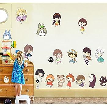 Fangeplus(TM) DIY Removable Spirited Away And My Neighbor Totoro Art Mural  Vinyl Waterproof Wall Stickers Kids Room Decor Nursery Decal Sticker  Wallpaper ...