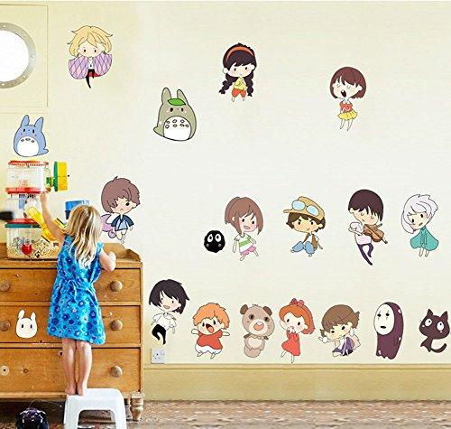 Away Logo Decal (Fangeplus(TM) DIY Removable Spirited Away and My Neighbor Totoro Art Mural Vinyl Waterproof Wall Stickers Kids Room Decor Nursery Decal Sticker Wallpaper 35.4''x23.6'')