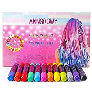 Hair Chalk for Girls Kids Temporary Hair Color 12 Colors Non-Toxic Washable Hair Chalk Pens for Dark Hair and Blonde Brown Auburn Hair Birthday Present