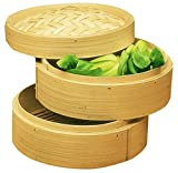 Personal Size Dimsum High Tea 6'' Diameter Bamboo Steamer - Stackable Two Baskets With One Lid