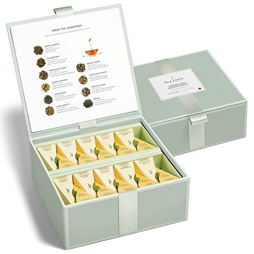 Tea Forté Tea Chest Green Tea Assortment with 40 Handcrafted Pyramid Tea Infusers - Green Mango Peach, Jasmine Chamomile, Lemon Sorbetti and more